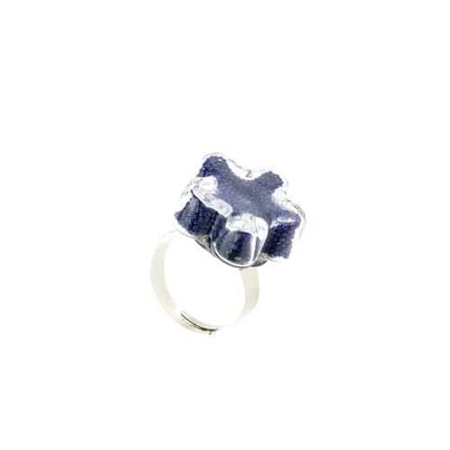 Chiccy Gümüş Çiçek Cam İçinde Mavi Havyarlar Yüzük
