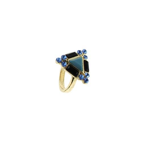 Chiccy Mavi Siyah Kristalli Üçgen Yüzük