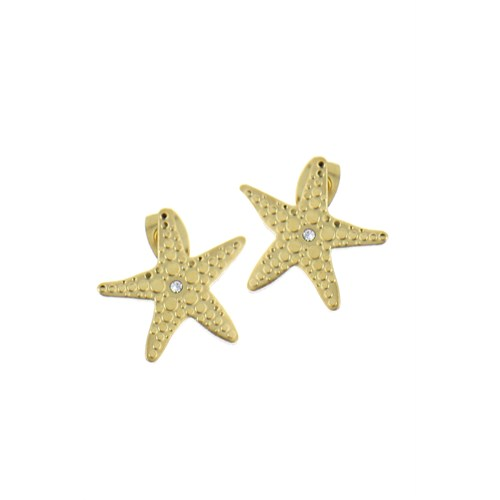 Chiccy Altın Kristal Taşlı Deniz Yıldızı Çelik Küpe