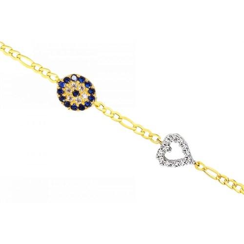 Melis Gold Altın Taşlı Kalp ve Nazar Boncuklu Bileklik ZB000045