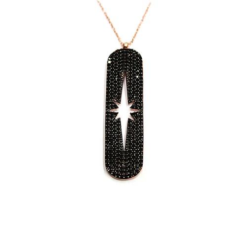 Neva Gümüş Siyah Taş Çubuk Şimal Yıldızı Gümüş Kolye
