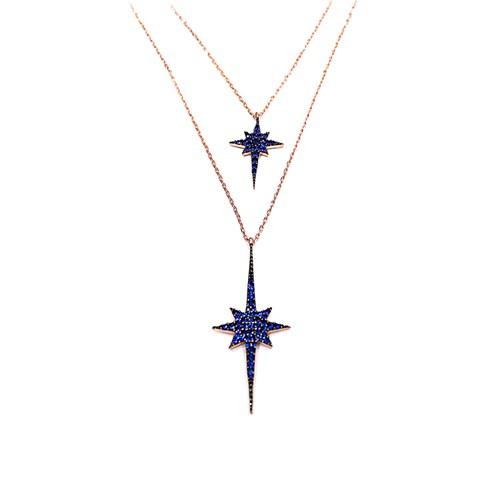 Neva Gümüş Lacivert İkili Şimal Yıldızı Gümüş Kolye