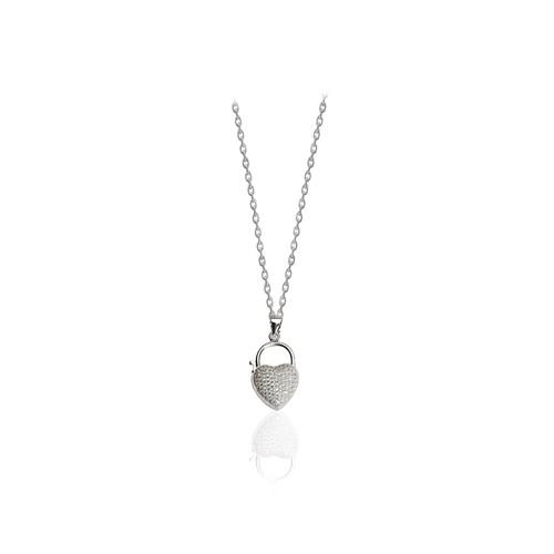 Neva Gümüş Beyaz Oval Kalp Gümüş Kolye