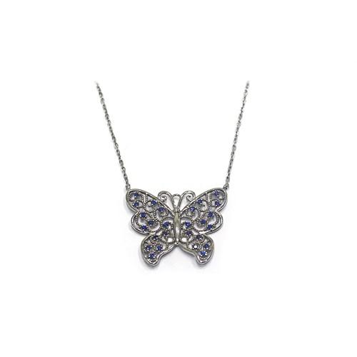Neva Gümüş Lacivert Taş Beyaz Kelebek Gümüş Kolye