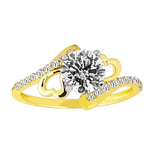 Melis Gold Altın Kalp Tek Taş Yüzük AY000090