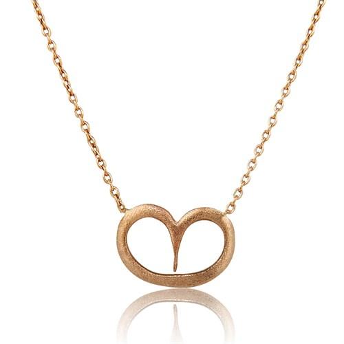 Pırlanta Hediyeler Büyük Kalp Altın Kolye (Pembe Altın)