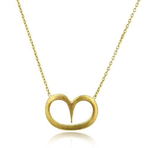 Pırlanta Hediyeler Büyük Kalp Altın Kolye (Sarı Altın)