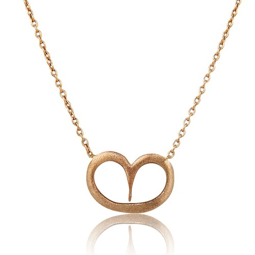 Pırlanta Hediyeler Orta Boy Kalp Altın Kolye (Pembe Altın)
