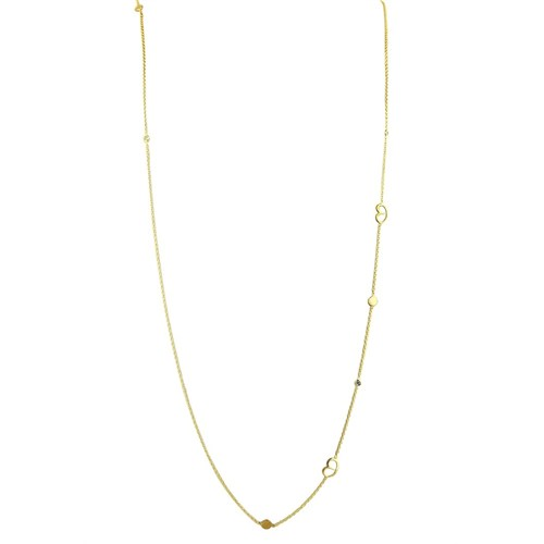Pırlanta Hediyeler Pırlantalı Küçük Boy Kalpli Uzun Kolye (Sarı Altın)