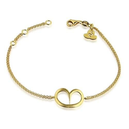 Pırlanta Hediyeler Büyük Kalp Altın Bileklik (Sarı Altın)