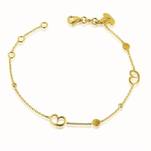 Pırlanta Hediyeler Pırlantalı Küçük Boy Kalpli Bileklik (Sarı Altın)