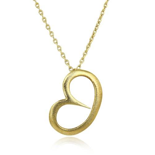 Pırlanta Hediyeler Büyük Yan Kalp Altın Kolye (Sarı Altın)