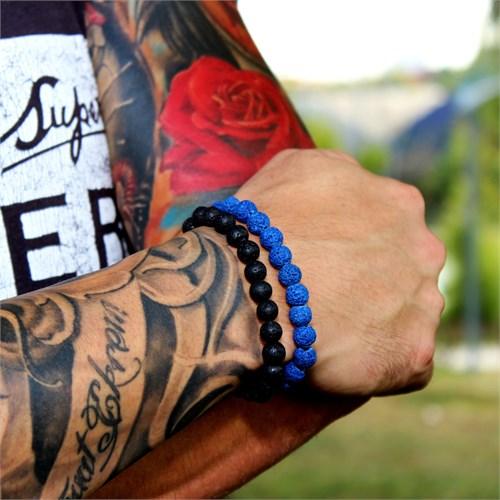 Takı&Trend Siyah Ve Mavi Lav Taşı Doğal Taş Erkek Bileklik Seti