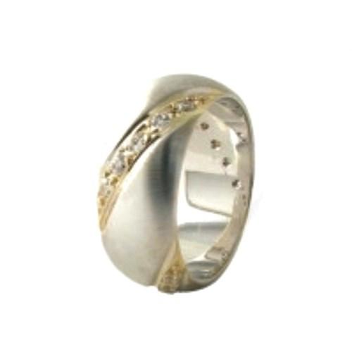 Arjuna Gümüş Tek Taş El İşi Çift Alyans Al0184
