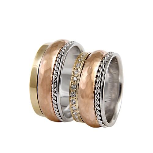 Arjuna Gümüş Tek Taş El İşi Çift Alyans Al0578