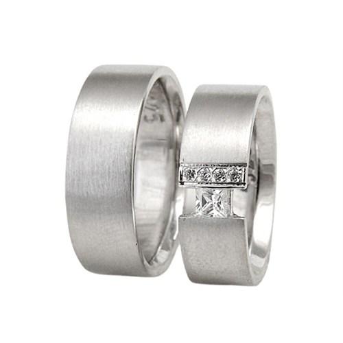 Arjuna Gümüş Tek Taş El İşi Çift Alyans Al0692