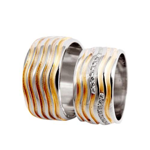 Arjuna Gümüş Tek Taş El İşi Çift Alyans Al0729