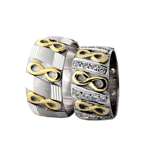 Arjuna Gümüş Tek Taş El İşi Çift Alyans Al1017