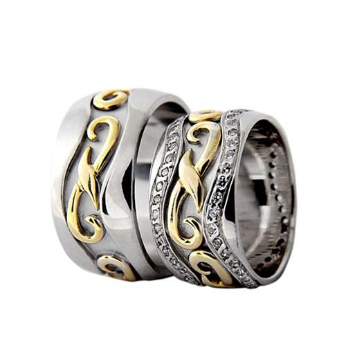 Arjuna Gümüş Tek Taş El İşi Çift Alyans Al1026