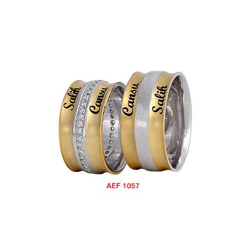 Arjuna Gümüş Tek Taş El İşi Çift Alyans Al1057