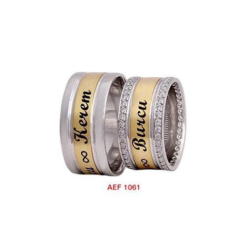 Arjuna Gümüş Tek Taş El İşi Çift Alyans Al1061