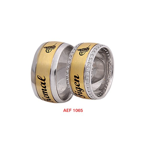 Arjuna Gümüş Tek Taş El İşi Çift Alyans Al1065