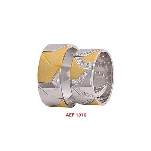 Arjuna Gümüş Tek Taş El İşi Çift Alyans Al1070