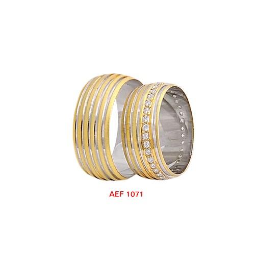 Arjuna Gümüş Tek Taş El İşi Çift Alyans Al1071