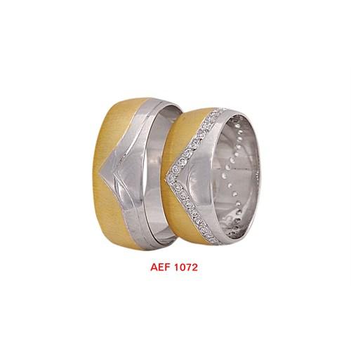 Arjuna Gümüş Tek Taş El İşi Çift Alyans Al1072