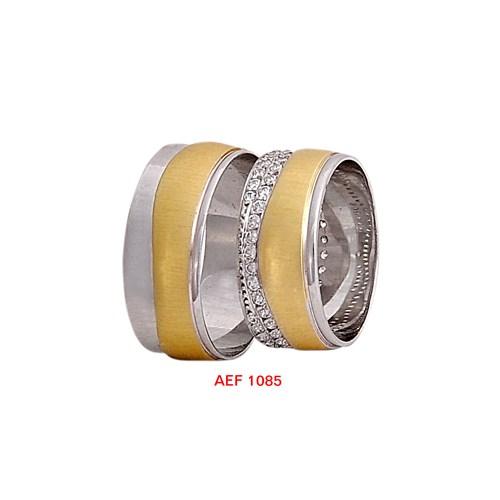 Arjuna Gümüş Tek Taş El İşi Çift Alyans Al1085