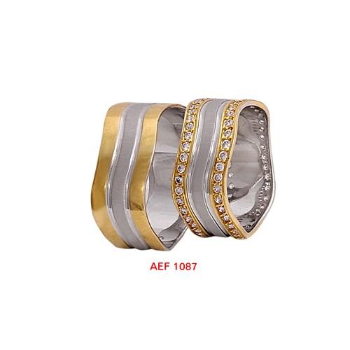 Arjuna Gümüş Tek Taş El İşi Çift Alyans Al1087