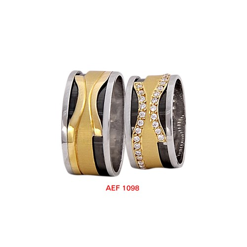 Arjuna Gümüş Tek Taş El İşi Çift Alyans Al1098