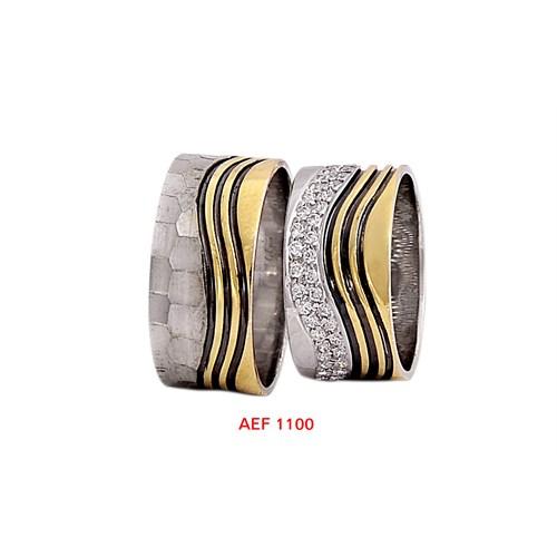 Arjuna Gümüş Tek Taş El İşi Çift Alyans Al1100