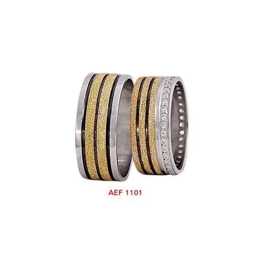 Arjuna Gümüş Tek Taş El İşi Çift Alyans Al1101