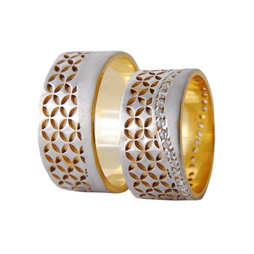Arjuna Gümüş Tek Taş El İşi Çift Alyans Al1110