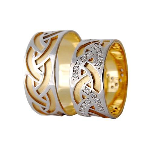 Arjuna Gümüş Tek Taş El İşi Çift Alyans Al1114