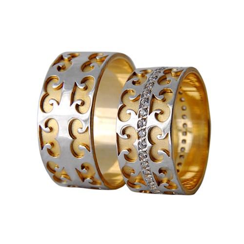 Arjuna Gümüş Tek Taş El İşi Çift Alyans Al1116