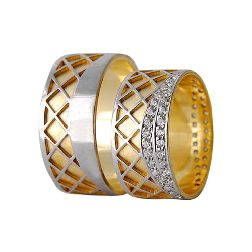 Arjuna Gümüş Tek Taş El İşi Çift Alyans Al1118