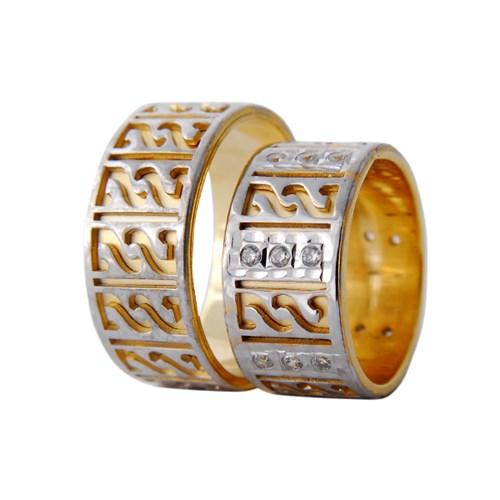 Arjuna Gümüş Tek Taş El İşi Çift Alyans Al1120