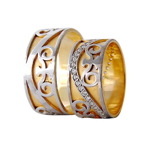 Arjuna Gümüş Tek Taş El İşi Çift Alyans Al1122