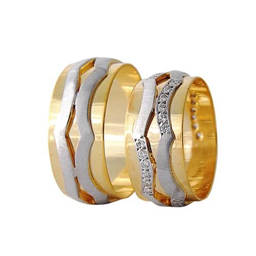 Arjuna Gümüş Tek Taş El İşi Çift Alyans Al1127