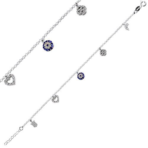 Bella Gloria Altın Kaplamalı Gümüş Nazarlı Şans Bilekliği (GB00145)