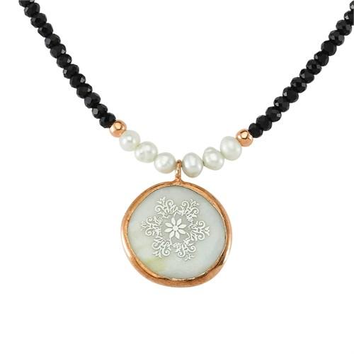 Silver & Silver Doğal Taşlı Çiçek Anneme Gümüş Kolye