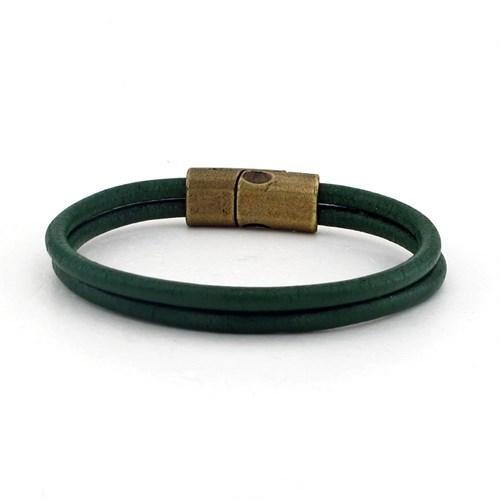 Solfera Çift Sıra Yeşil Renk Deri Erkek Bileklik Bt214