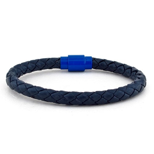 Solfera Lacivert Deri Mavi Mıknatıs Erkek Bileklik Bt236