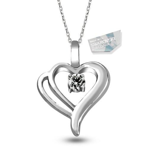 De Hari's Zirkon Taşlı Çift Kalpli Gümüş Kolye
