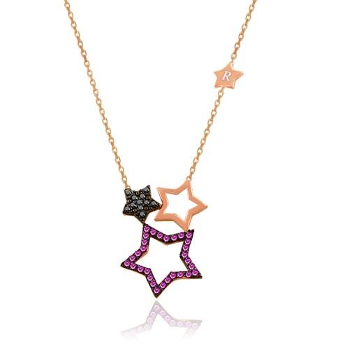 İndigo Kişiye Özel Harfli Üçlü Yıldız Gümüş Kolye