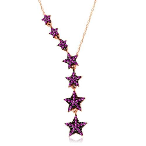 İndigo Ruby Taş Süzülen Yıldız Gümüş Kolye
