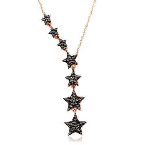 İndigo Siyah Taş Süzülen Yıldız Gümüş Kolye