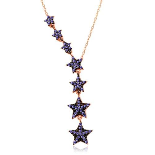 İndigo Süzülen Yıldızlar Gümüş Kolye